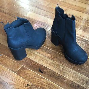 Matte Black platform boots